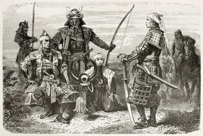 Samurai With Naginata in Background