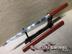 Ninjato Sword 1060 Carbon Steel With Hardwood In Burgundy Color Saya