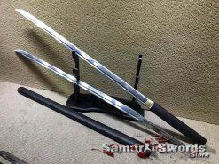 Beautiful Samurai Sword Set 1060 Carbon Steel with Sparkle Black Hardwood Saya