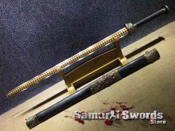 Chinese Jian Sword 1060 Carbon Steel With Ebony Wood Saya