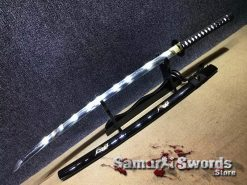 Katana Sword T10 Clay Tempered Steel With Black Engraved Rooster Saya