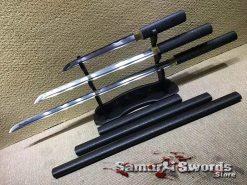 Katana Wakizashi and Tanto Samurai Sword Set 1060 Carbon Steel with Sparkle Black Hardwood Saya