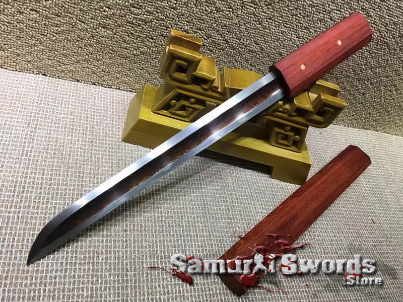 T10 Folded Clay Tempered Steel Japanese Tanto Knife  With Redwood Saya
