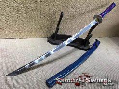 Samurai Katana Sword 9260 Spring Steel with Blue Saya