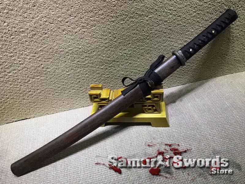 T10 Clay Tempered Steel Wakizashi Sword  With Rosewood Saya
