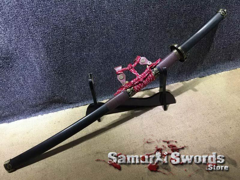 Tachi Sword T10 Clay Tempered Steel With Ebony Wood Saya