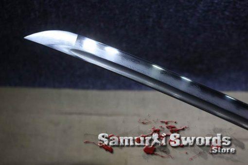 Katana Sword T10 Folded Clay Tempered Steel Hadori Polish With Black Semi Red Ray Skin Saya