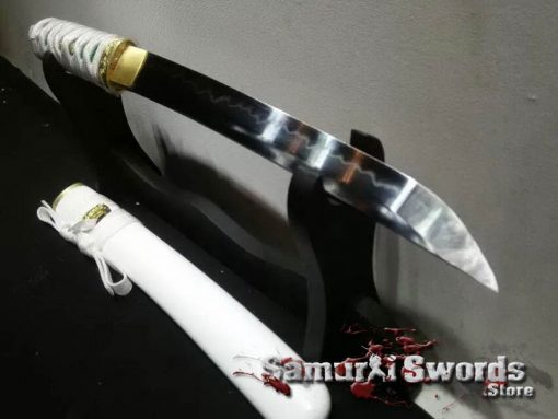 Tanto Knife T10 Clay Tempered Steel With White Saya