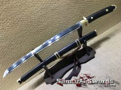 Wakizashi Sword T10 Clay Tempered Steel with Ebony Wood Saya