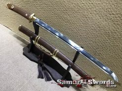 Wakizashi Sword T10 Clay Tempered Steel with Rosewood