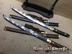 Wakizashi Sword T10 Clay Tempered Steel with Rosewood Or Ebony Wood Saya