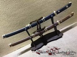 Wakizashi Swords T10 Clay Tempered Steel with Rosewood Or Ebony Wood Saya
