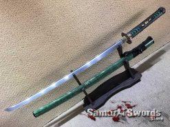 1060 Folded Steel Katana with Full Green Ray Skin Saya