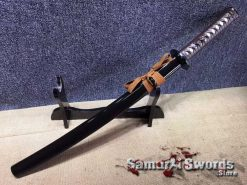 Battle Ready Wakizashi T10 Clay Tempered Steel with Black Saya