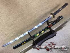 Custom Katana Sword T10 Folded Clay Tempered Steel with Hadori Polish