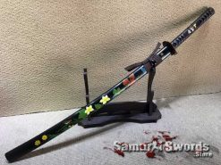Custom Katana Sword T10 Folded Clay Tempered Steel with Hadori Polish and Hand Painted Flowers Saya
