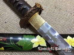 Custom Katana Sword T10 Folded Clay Tempered Steel with Hadori Polish and engraved Shrimps