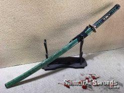 Katana 1060 Folded Steel with Full Green Ray Skin Saya