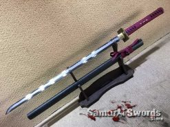 Ninjato Sword T10 Folded Clay Tempered Steel with Hadori Polish and Sparkle Black Hardwood Saya