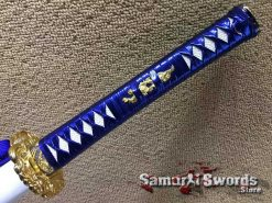 Synthetic leather blue ito with white samegawa