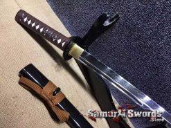 T10 Clay Tempered Steel Wakizashi with authentic wave hamon