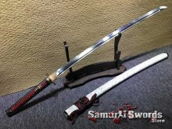Battle Ready Katana T10 Clay Tempered Steel with Special White Marble Pattern Saya