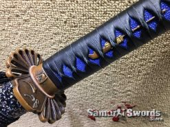 Black Leather with Indigo Blue Samegawa
