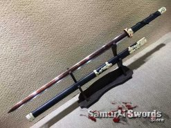 Chinese Jian 1095 Folded Steel with Red Acid Dye and Ebony Wood Scabbard