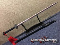Chinese Jian Sword 1095 Folded Steel with Red Acid Dye and Ebony Wood Scabbard
