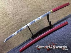 Japanese Shirasaya Katana 1060 Carbon Steel with Red Leopard Synthetic Leather Wood Saya