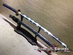 Samurai Katana T10 Folded Clay Tempered Steel with Feather Hadori Polish and Full Seashell Pattern Saya