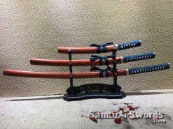 Samurai Sword Set T10 Clay Tempered Steel with Red Wood Saya