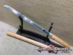Wakizashi Ninjato 1060 Carbon Steel with White Maple Wood Saya