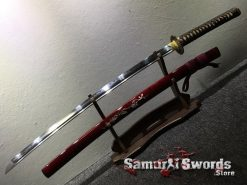 Battle Ready Katana Blade T10 Folded Clay Tempered Steel Seashell Bird Saya with Real Buffalo Horn (10)