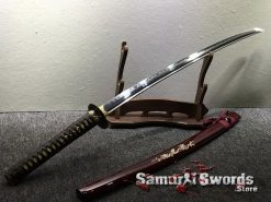 Battle Ready Katana Blade T10 Folded Clay Tempered Steel Seashell Bird Saya with Real Buffalo Horn (13)