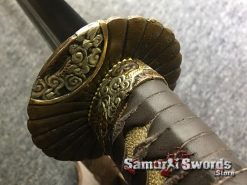 Battle Ready Katana Blade T10 Folded Clay Tempered Steel Seashell Bird Saya with Real Buffalo Horn (3)