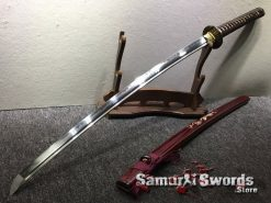 Battle Ready Katana Blade T10 Folded Clay Tempered Steel Seashell Bird Saya with Real Buffalo Horn (6)