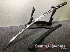 Battle Ready Katana Sword T10 Folded Clay Tempered Steel with Feather Hadori Polish (2)