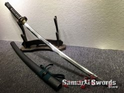 Battle Ready Katana Sword T10 Folded Clay Tempered Steel with Feather Hadori Polish (5)