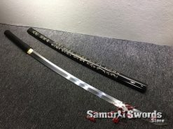 Battle Ready Shirasaya Katana T10 Folded Clay Tempered Steel Gloss Black Sun Tzu Saya (4)