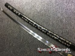 Battle Ready Shirasaya Katana T10 Folded Clay Tempered Steel Gloss Black Sun Tzu Saya (6)