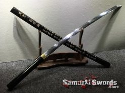 Battle Ready Shirasaya Katana T10 Folded Clay Tempered Steel Gloss Black Sun Tzu Saya (7)