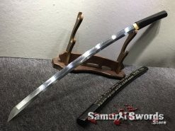 Battle Ready Shirasaya Katana T10 Folded Clay Tempered Steel Gloss Black Sun Tzu Saya (9)
