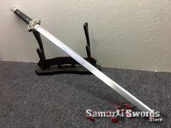 Chinese Jian Sword T10 Folded Clay Tempered Steel Ebony Wood Scabbard (4)