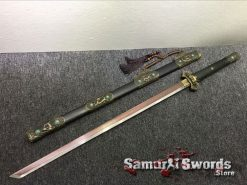 Dao Sword 1095 Folded Steel with Red acid Dye (4)