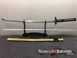 Full Tang Katana Sword 1060 Carbon Steel Synthentic Leather Shiny Gold Saya (1)