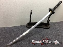 Full Tang Katana Sword 1060 Carbon Steel Synthentic Leather Shiny Gold Saya (2)