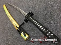 Full Tang Katana Sword 1060 Carbon Steel Synthentic Leather Shiny Gold Saya (3)