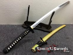 Full Tang Katana Sword 1060 Carbon Steel Synthentic Leather Shiny Gold Saya (6)