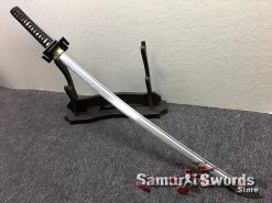 Full Tang Katana Sword 1060 Carbon Steel Synthentic Leather Shiny Gold Saya (7)